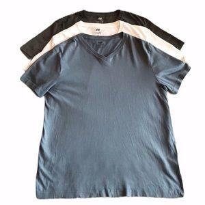 Lot of 3 H&M V-Neck T-shirts Medium Blue Gray Whit